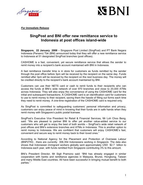 SingPost and BNI offer new remittance service to     - Singapore Post