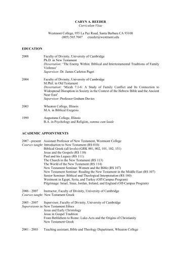 Curriculum Vitae - Westmont College