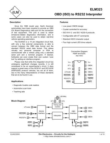 elm327 obd to rs232 interpreter, Wiring diagram