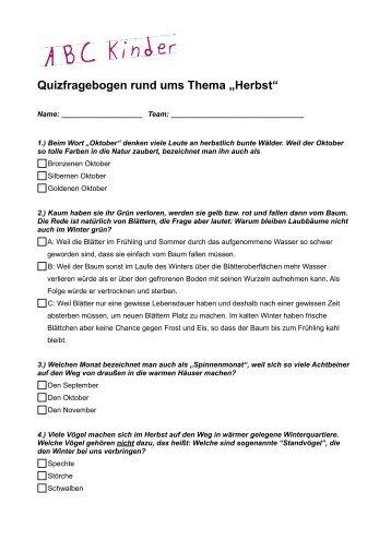 """Quizfragebogen rund ums Thema """"Herbst"""" - ABC Kinder"""