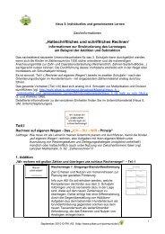Halbschriftliches und schriftliches Rechnen - PIK AS - TU Dortmund