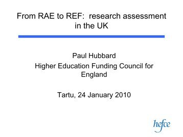 From RAE to REF: research assessment in the UK - Archimedes