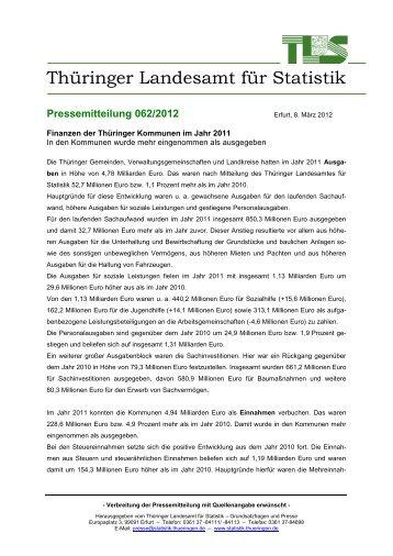 Finanzen der Thüringer Kommunen im Jahr 2011 In den Kommunen ...