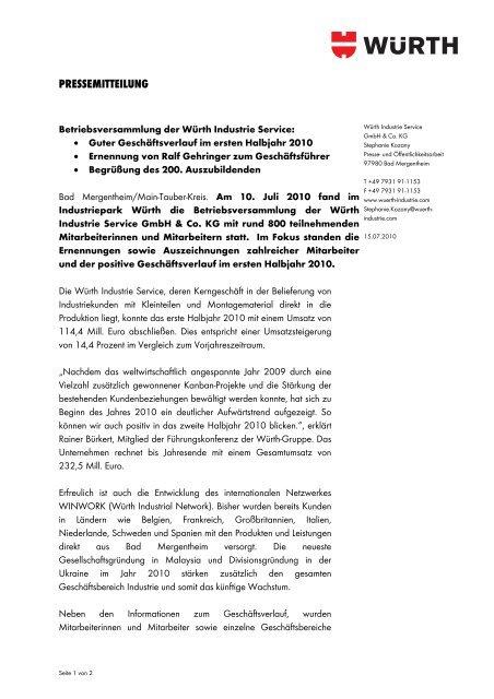 """Nähere Informationen """"Betriebsversammlung der Würth Industrie ..."""