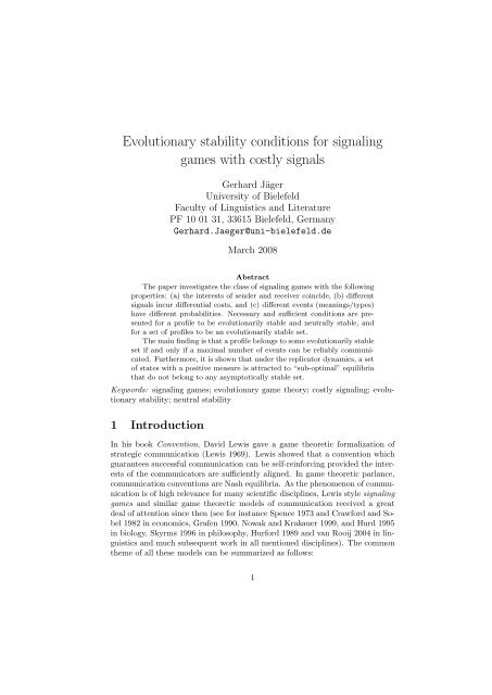 Evolutionary stability conditions for signaling games with costly signals