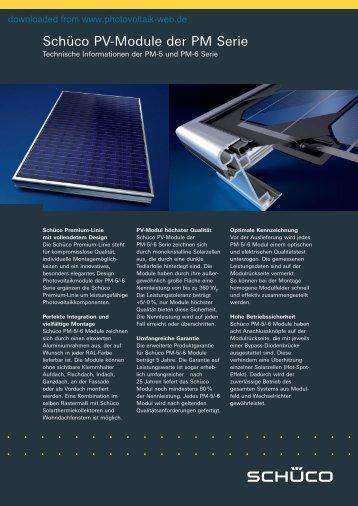 Schüco PV-Module der PM Serie - Photovoltaik