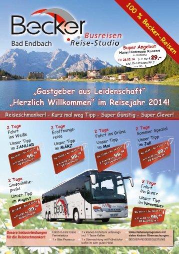 """""""Herzlich Willkommen"""" im Reisejahr 2014! - Becker - Reisen"""