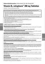 Vitamin B1-ratiopharm® 200 mg Tabletten - Shop-Apotheke