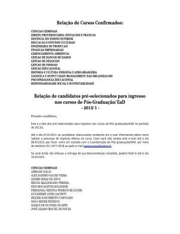 Relação de Cursos Confirmados: Relação de candidatos pré ... - Ulbra