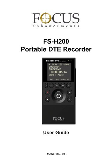 FS-H200 DTE Portable Recorder, User Guide, MANL ... - Holdan.eu
