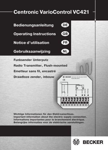 Becker Centronic VarioControl VC421 Anleitung - auf enobi.de