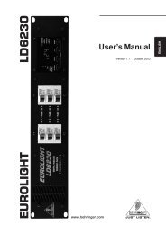 Manual for Behringer LD6230 Eurolight 6 ... - Musician's Friend