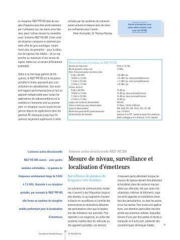 Mesure de niveau, surveillance et localisation d ... - Rohde & Schwarz