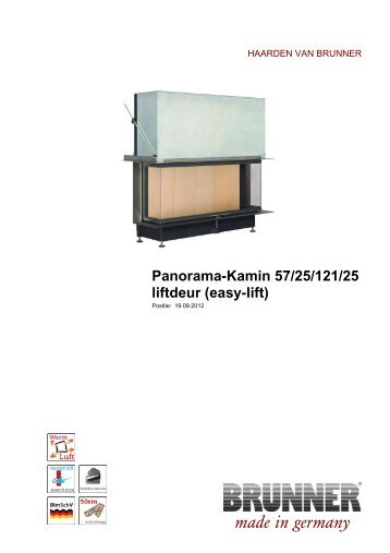Panorama-Kamin 57/25/121/25 liftdeur (easy-lift) - Brunner