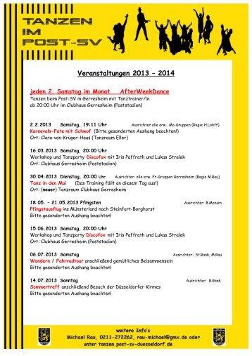 Veranstaltungen 2013 – 2014 - Post-Sportverein Düsseldorf