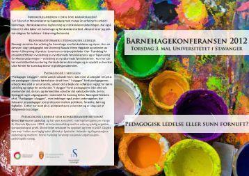 program for konferansen - Universitetet i Stavanger