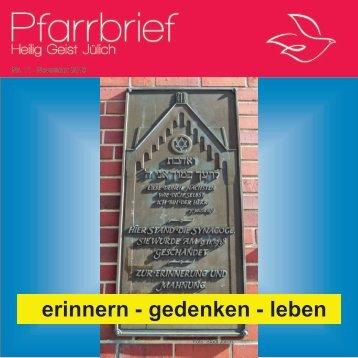 erinnern - gedenken - leben - Pfarrei Heilig Geist Jülich