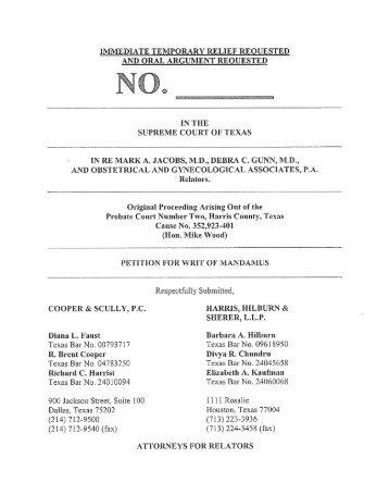 for Writ of Mandamus - Filed - Supreme Court of Texas