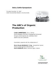 The ABC's of Organic Dairy Production - Centre d'agriculture ...