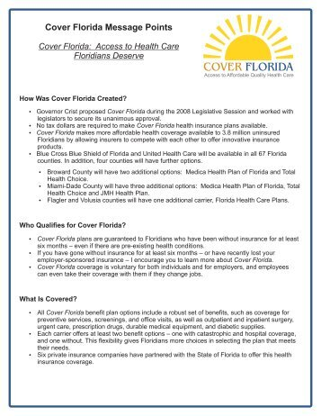 Cover Florida Message Points - Healthy Start Coalition of Pinellas