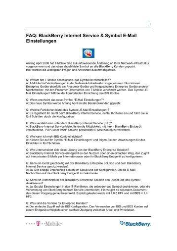 FAQ: BlackBerry Internet Service & Symbol E ... - wireless & mobile