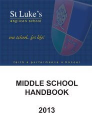 MIDDLE SCHOOL HANDBOOK 2013 - St Luke's Anglican School