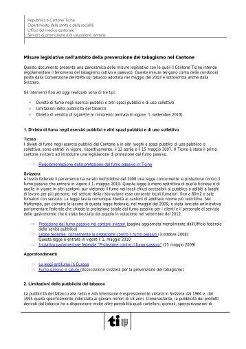 Altre misure legislative nella prevenzione del tabagismo nel Cantone