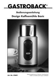 Bedienungsanleitung Design Kaffeemühle Basic - Gastroback