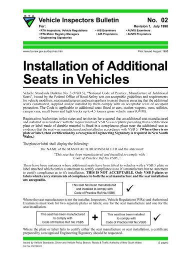 Installation of Additional Seats in Vehicles - RTA