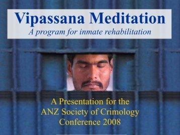 Vipassana Meditation - Australian and New Zealand Society of ...