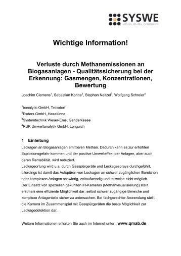 QMaB-Richtlinien zur Leckageortung - Systemtechnik Weser-Ems