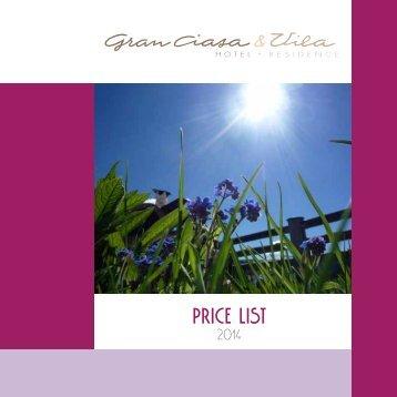 PRICE LIST - Gran Ciasa