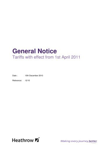 General Notice 12/10: Tariffs with effect 1 April ... - Heathrow Airport
