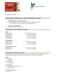 Abweichung / Ergänzungen zu den Wettkampfvorschriften
