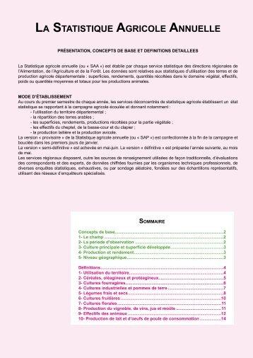 LA STATISTIQUE AGRICOLE ANNUELLE - DRAAF Rhône-Alpes