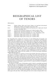 BIOGRAPHICAL LIST OF TENORS - Yale University Press