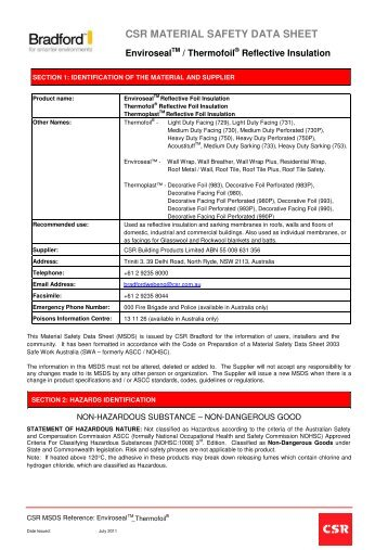 Thermofoil MSDS - Austral Insulation