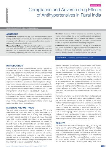 Compliance and Adverse drug Effects of Antihypertensives ... - JCDR