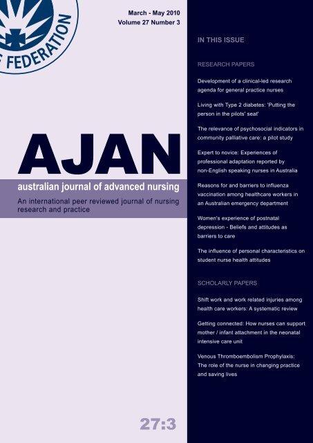 March-May, 2010 - Australian Journal of Advanced Nursing