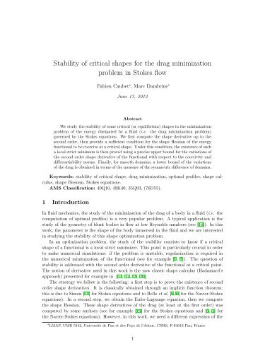 Stability of critical shapes for the drag minimization problem in ...