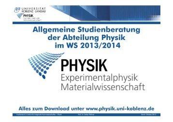 Allgemeine Studienberatung der Abteilung Physik im WS 2013/2014