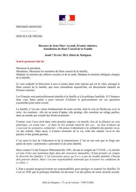 Le discours de Jean-Marc Ayrault du 7 - La Croix e29426af49c3