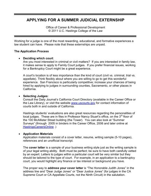 Applying For A Summer Judicial Externship Hastings College Of The