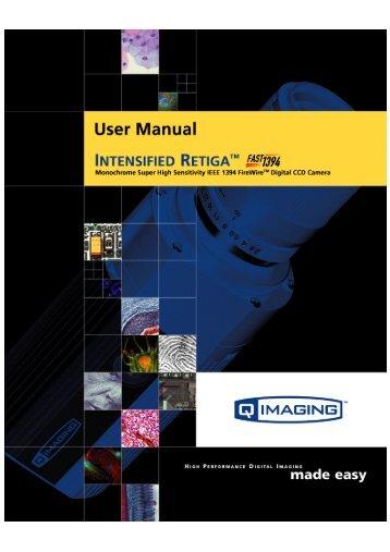 Intensified Retiga Fast 1394 User's Manual - QImaging