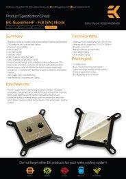 Product Specification Sheet EK-Supreme HF - Full (EN ... - EKWB