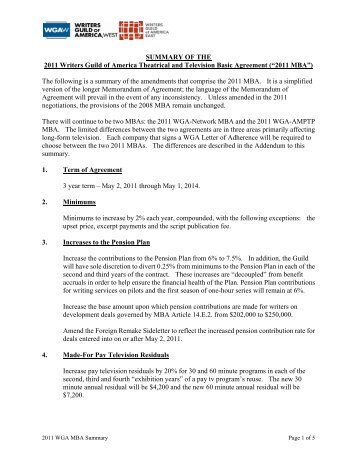 2011 MBA Summary - Writers Guild of America, West