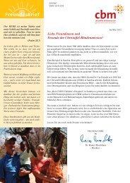 Freundesbrief - Christoffel-Blindenmission