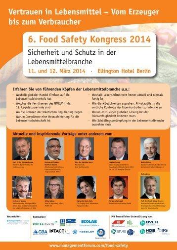 6. Food Safety Kongress 2014 [ PDF 1465 kB ] - TÜV Süd