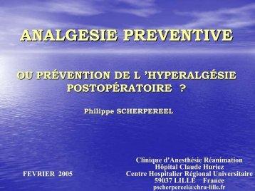 Analgésie Préventive - JLAR