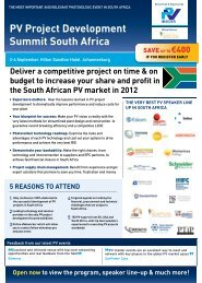 PV Project Development Summit South Africa - PV Insider